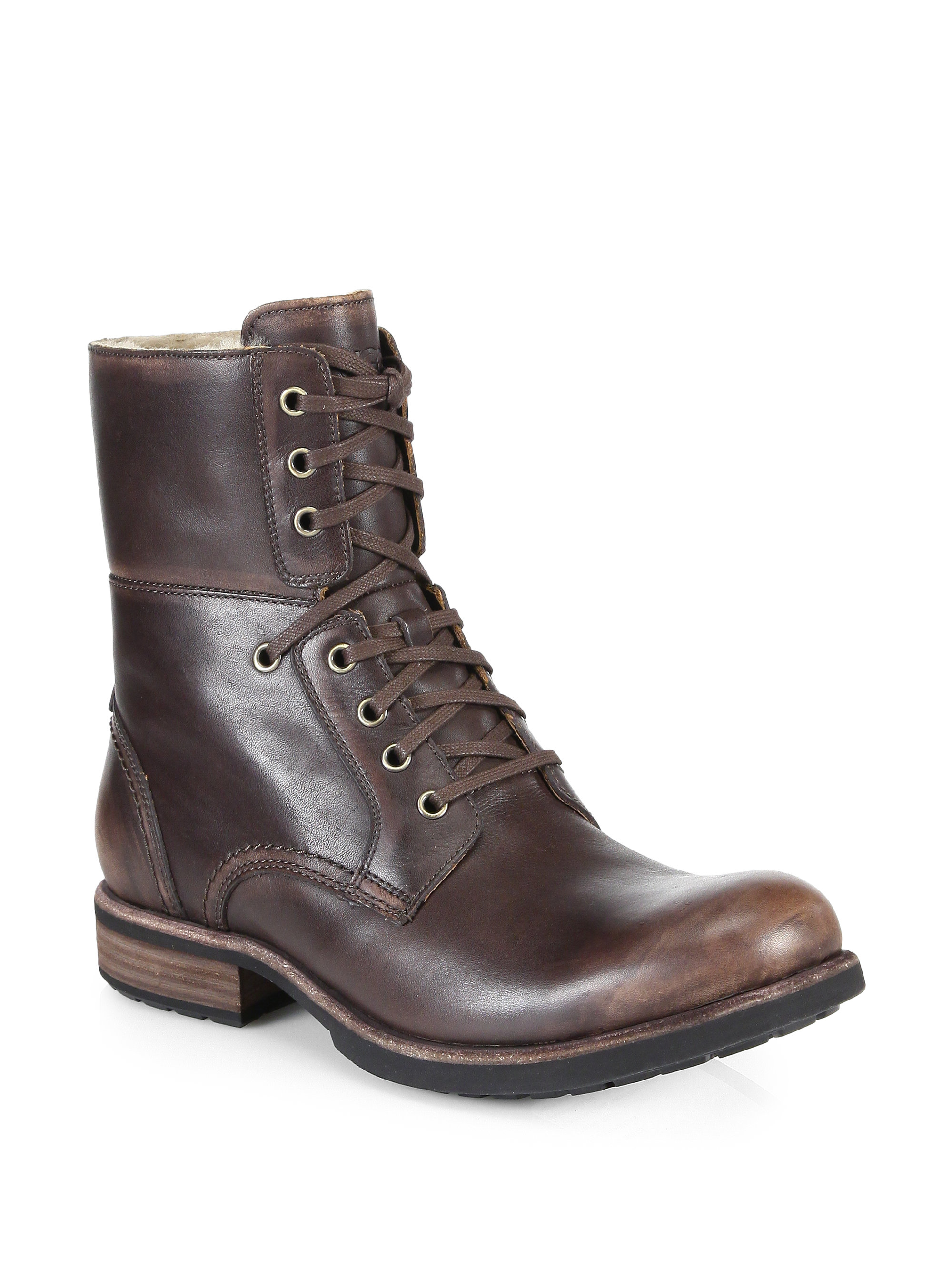 Ugg Larus Leather Lace-Up Boots in Brown for Men | Lyst