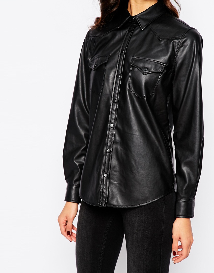 Lyst mango leather look shirt in black for Red leather shirt for womens