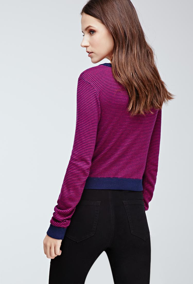 Forever 21 Cropped Stripe Sweater in Purple - Lyst