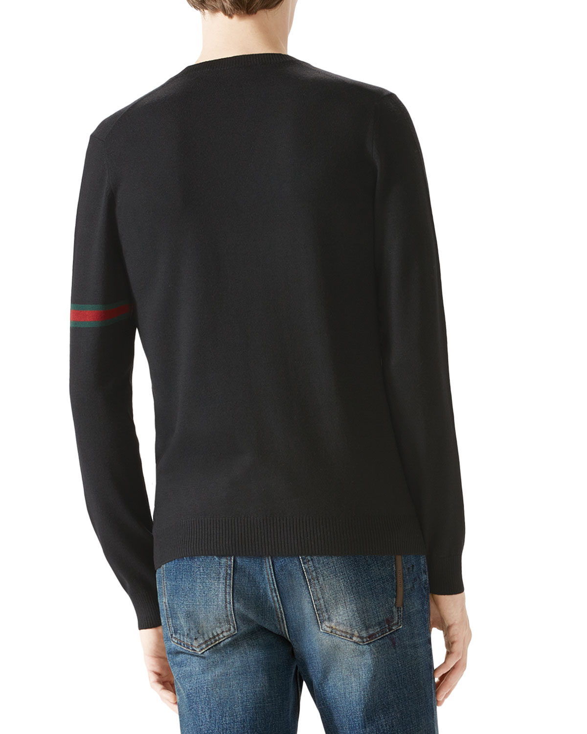 Gucci Black V-neck Sweater W/ Green/red/green Arm Band in Black ...