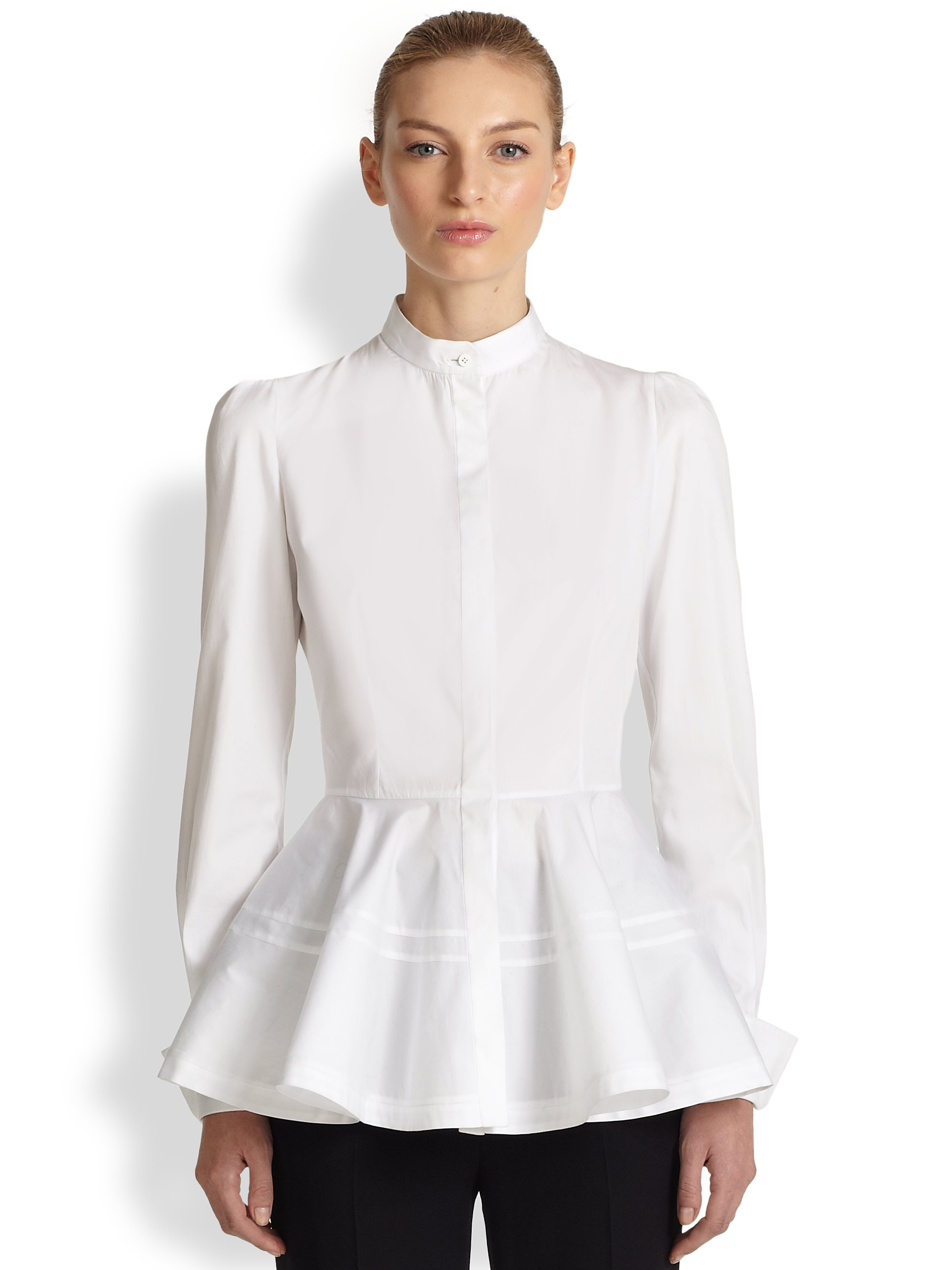 Cheap Huge Surprise Huge Surprise For Sale White Slashed Sleeve Shirt Alexander McQueen Free Shipping Original Discount New Arrival Free Shipping Low Price 7vmqLp