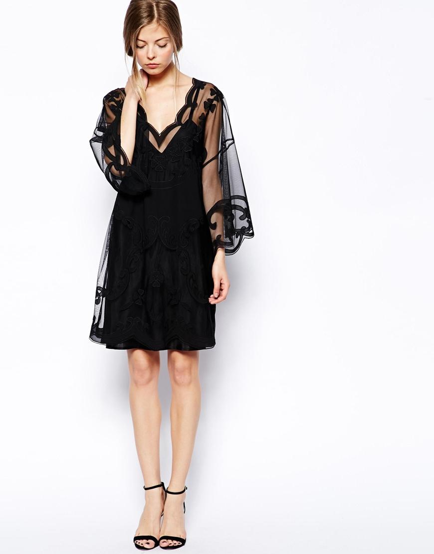 Lyst Asos Gothic Kimono Dress In Black