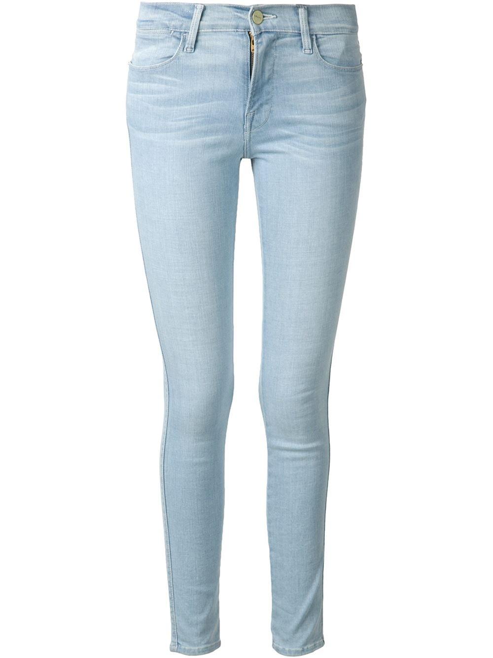 frame denim 39 jeanne le 39 high waist skinny jeans in blue lyst. Black Bedroom Furniture Sets. Home Design Ideas