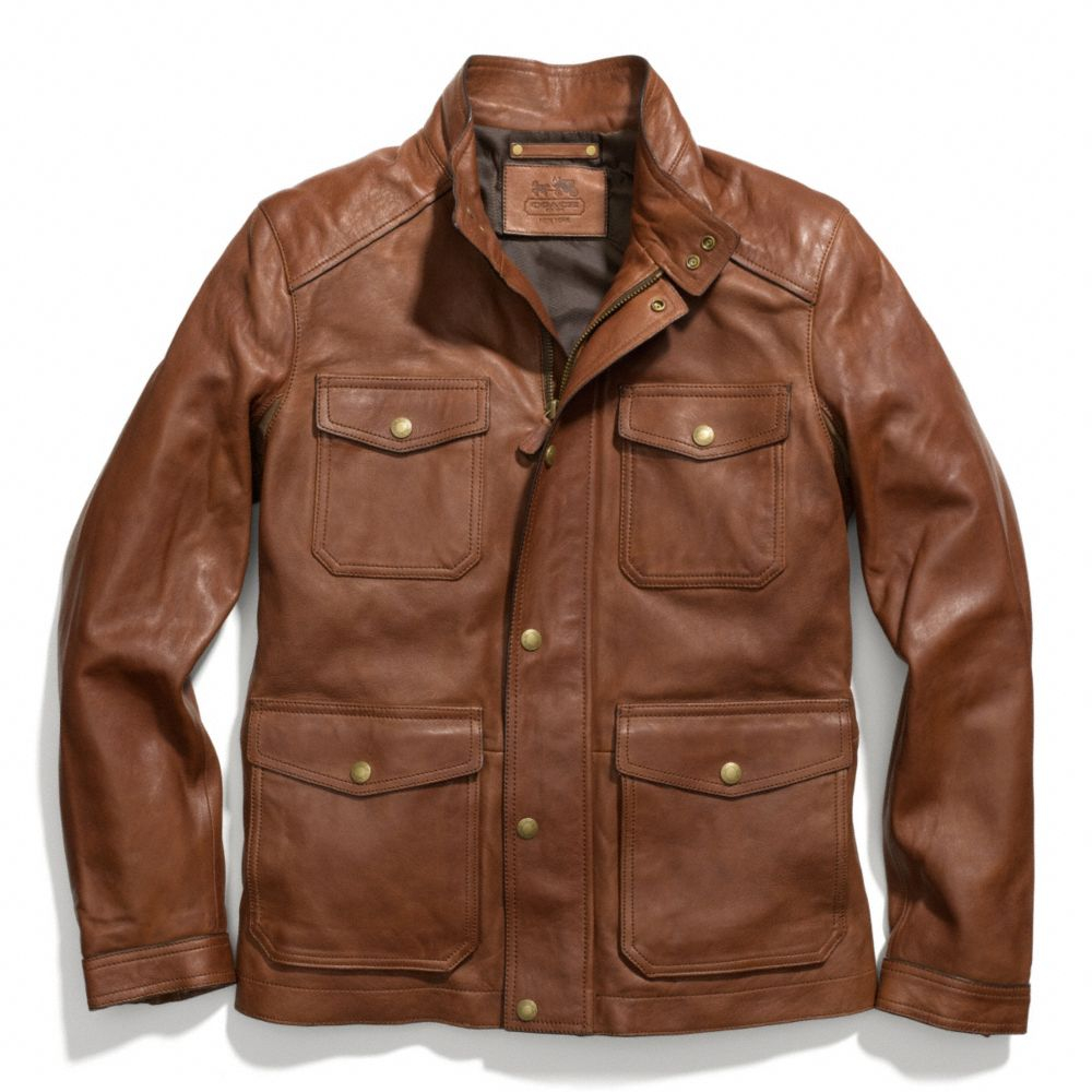 Lyst coach harrison leather jacket in brown for men for Coach jacket