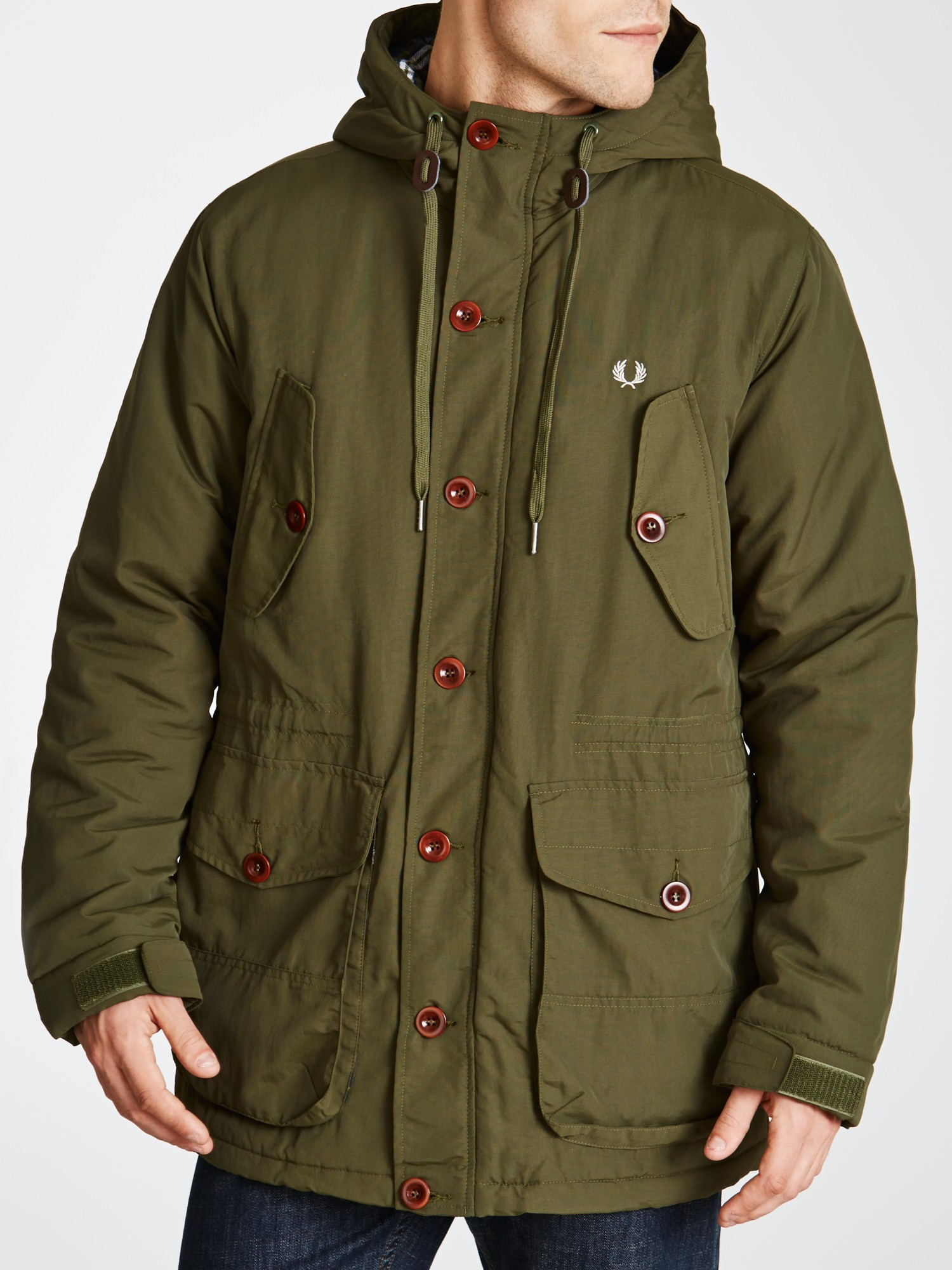 fred perry wadded parka jacket in green for men lyst. Black Bedroom Furniture Sets. Home Design Ideas