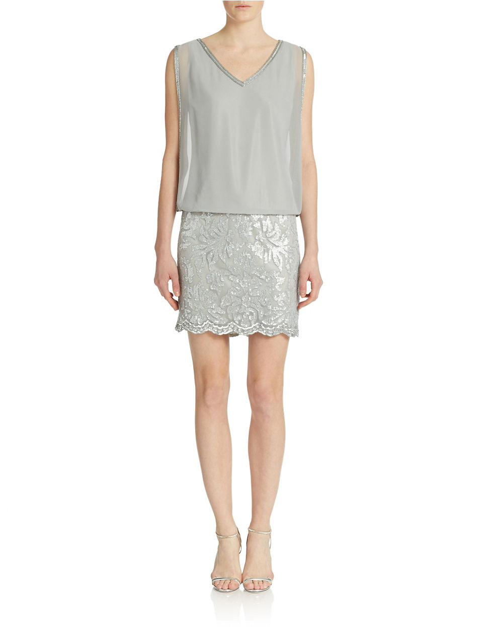 40c87587823 J Kara Sequin Embroidered Chiffon Blouson Dress in Gray - Lyst