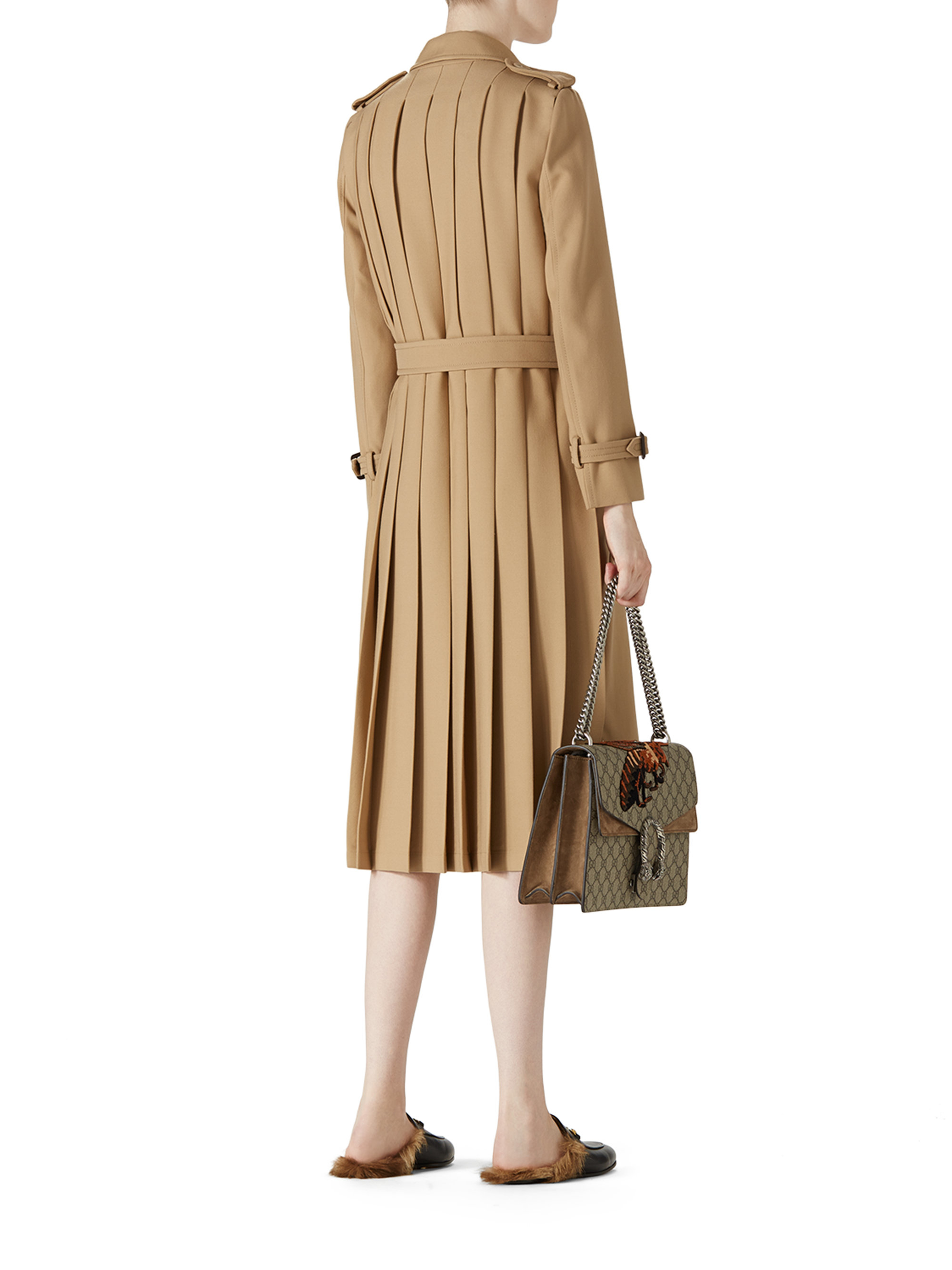 Lyst Gucci Wool Trench Coat In Brown