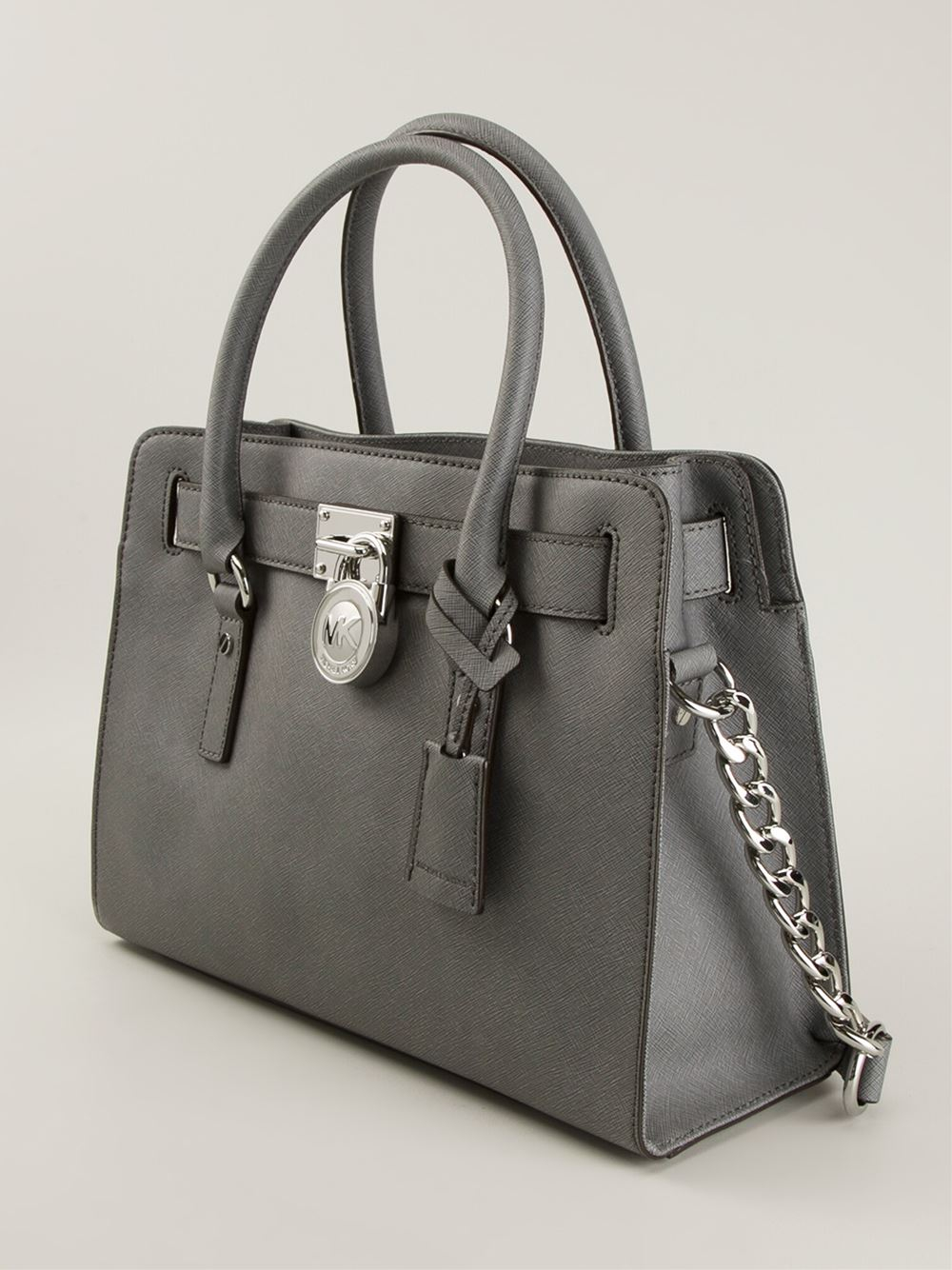 1b323e7ce98c10 ... Michael michael kors Hamilton Medium Satchel in Gray Lyst ...