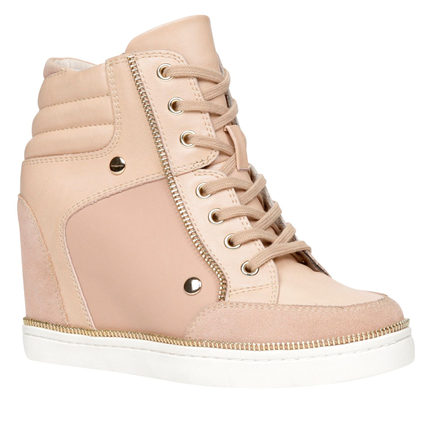 Aldo Ciambave Wedge Lace Up Trainers In Natural  Lyst-1258