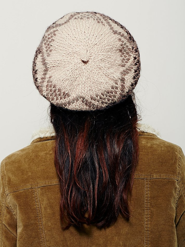 Lyst - Free people Bonnie Fairisle Beret in Natural