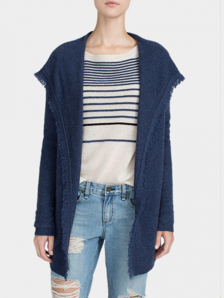 White   warren Cashmere Fringe Hooded Cardigan in Blue | Lyst