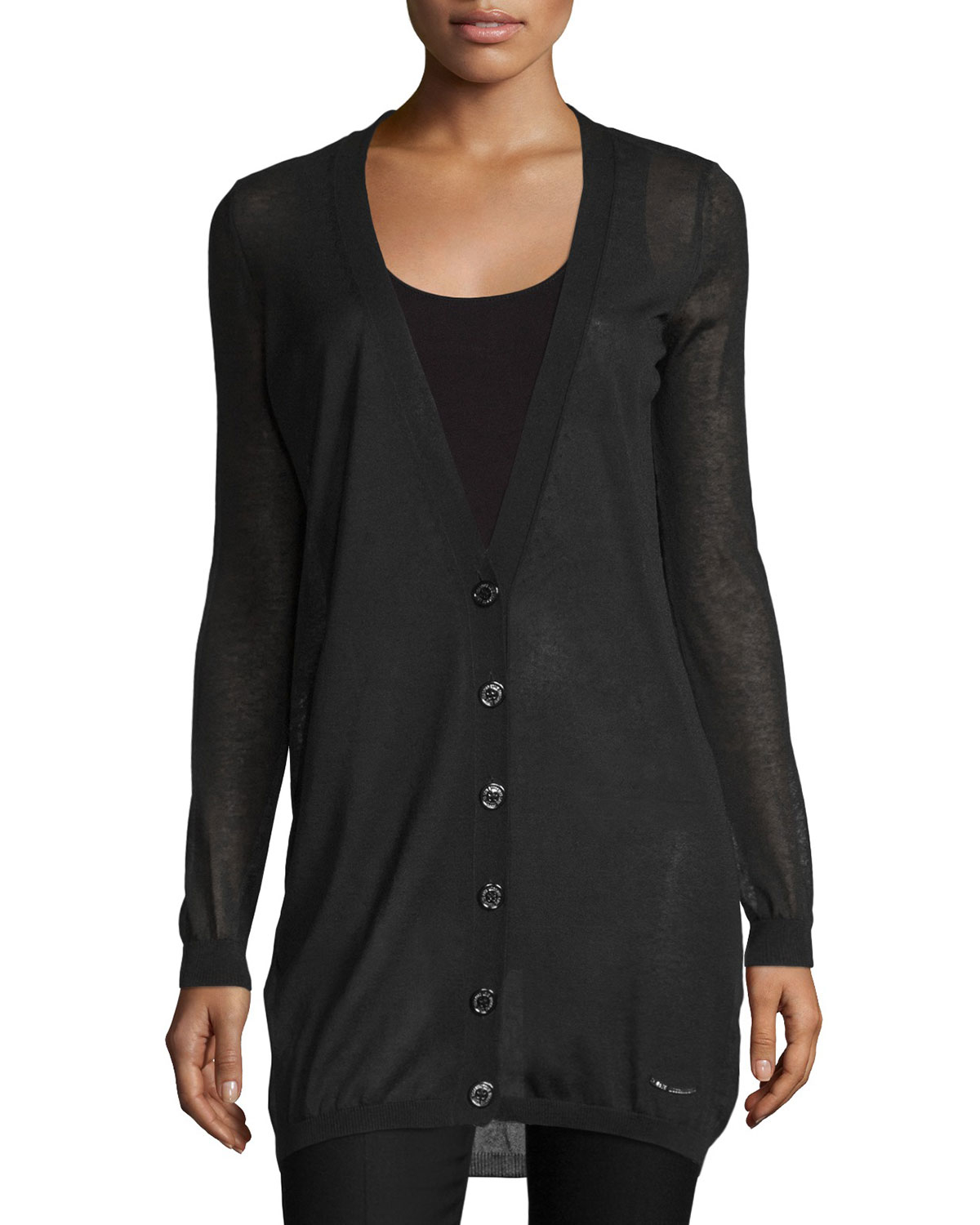 Love moschino Button-front Semi-sheer Cardigan in Black | Lyst