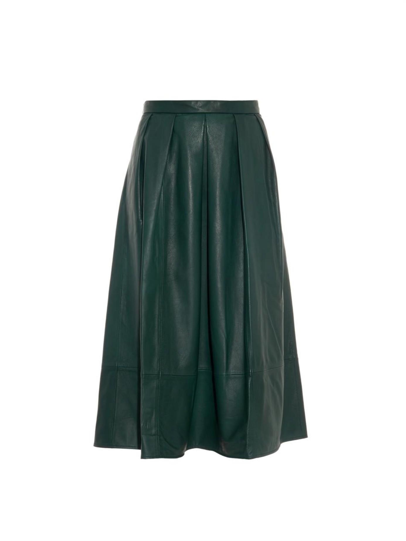 Tibi Full Leather Skirt in Green | Lyst