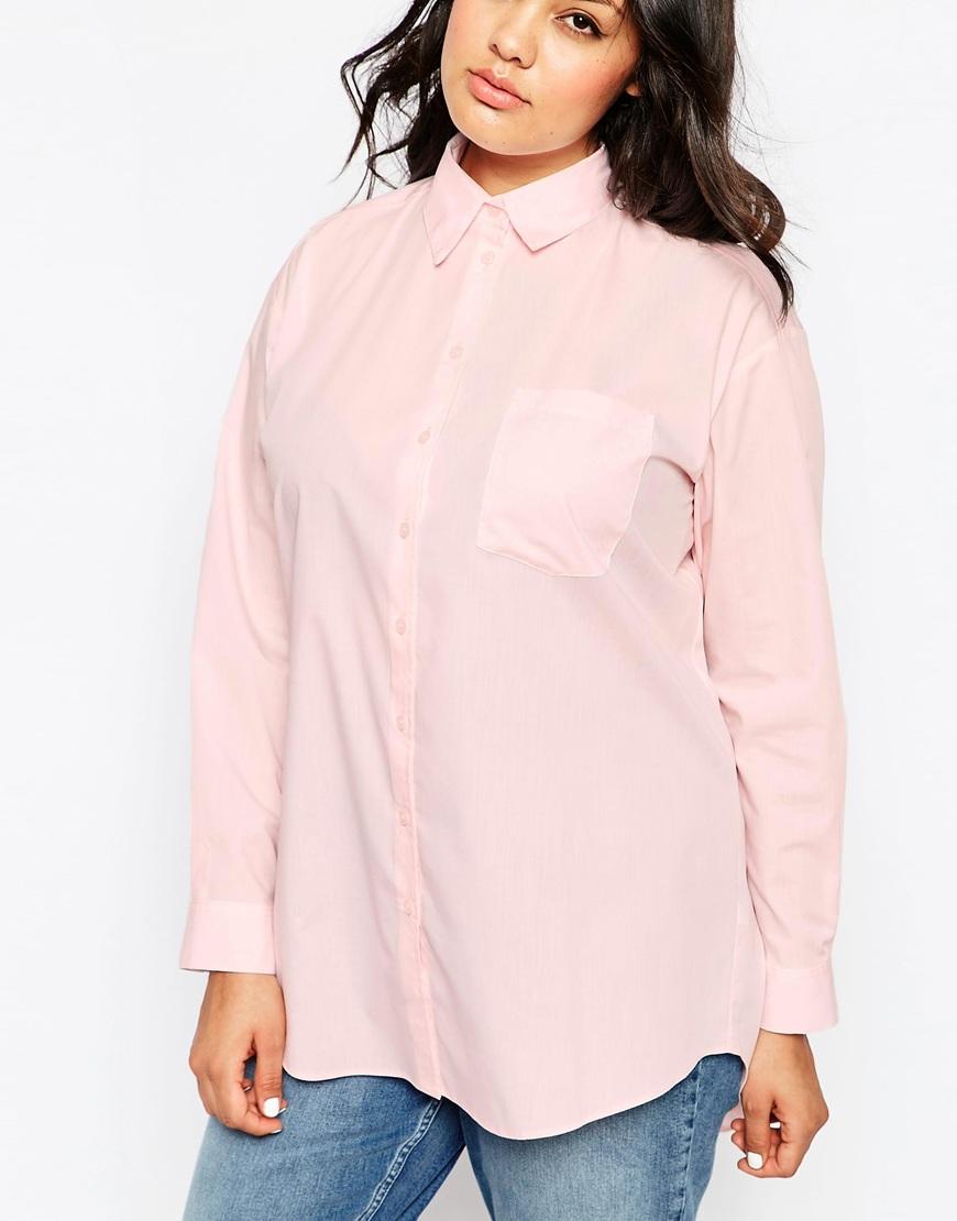 Asos Curve Boyfriend Shirt In Pink in Pink   Lyst