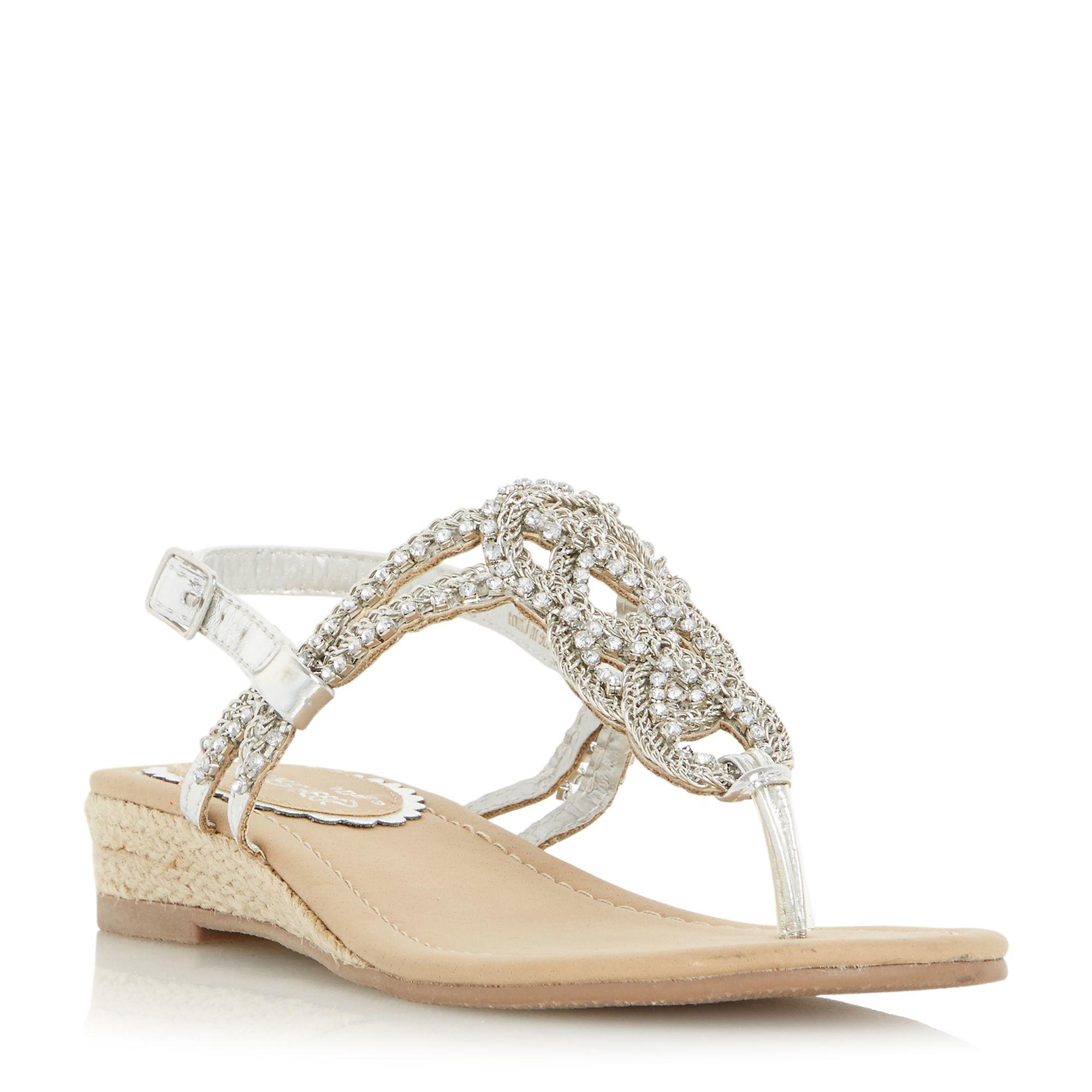 Dune Nixon Embellished Sandals In Metallic Lyst