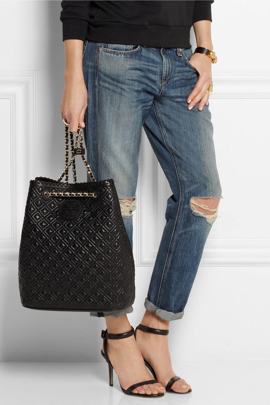 Lyst Tory Burch Marion Quilted Leather Backpack In Black