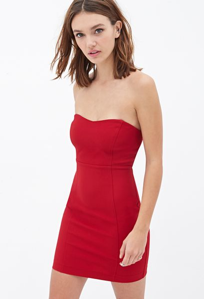 Forever 21 Strapless Bodycon Dress In Red Lyst