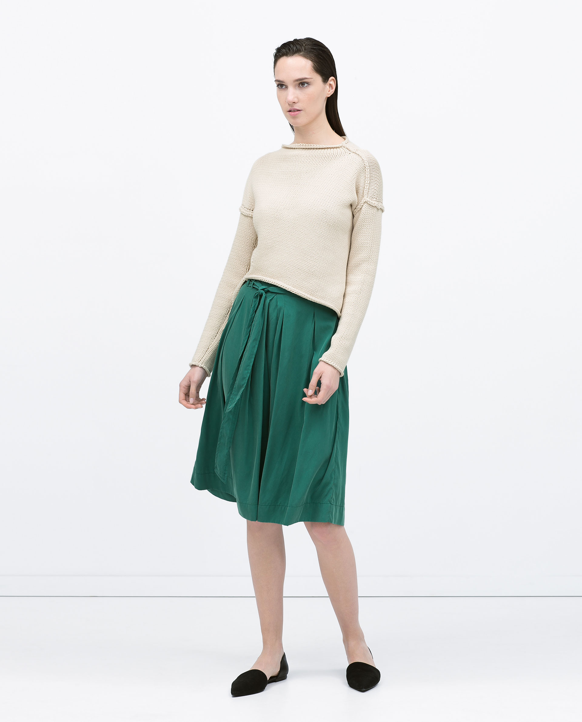 Zara Tie-Belt Midi Skirt Tie-Belt Midi Skirt in Green | Lyst