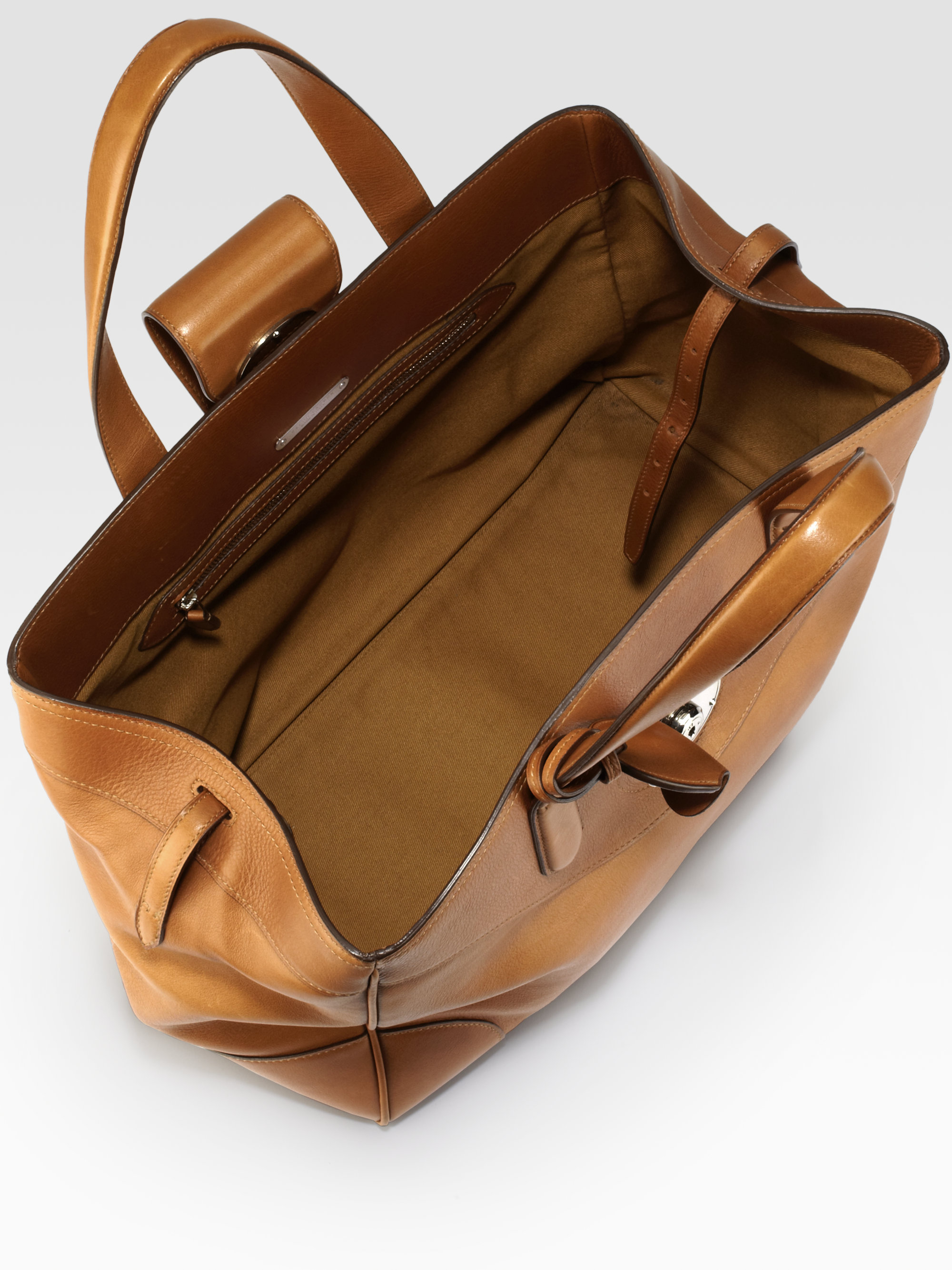 3a02eab0be54 Lyst - Ralph Lauren Collection Large Rustic Ricky Tote in Brown