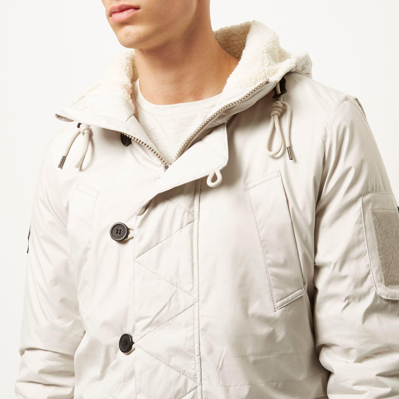 River Island White Bellfield Faux-fur Parka Winter Coat