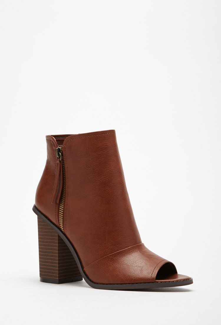 Forever 21 Faux Leather Peep Toe Booties In Brown | Lyst