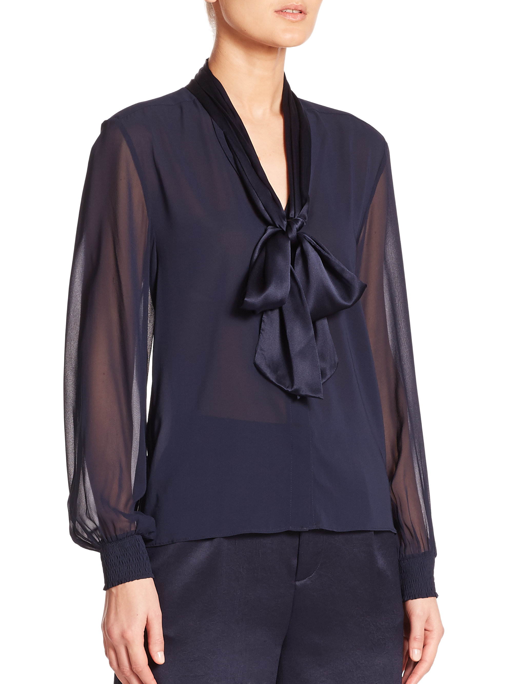 a7efc2c9c04f9 Lyst - Alice + Olivia Devin Silk Tie-Neck Blosue in Blue