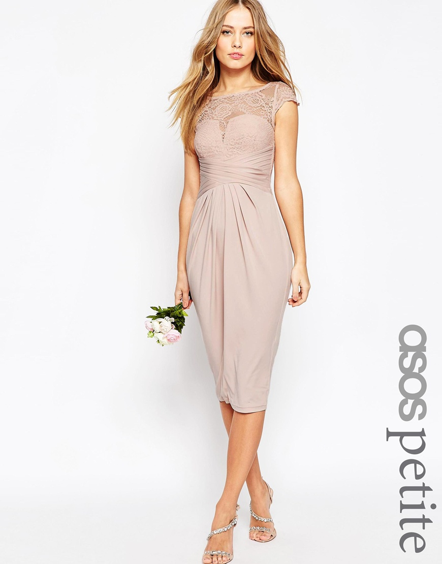 Asos petite wedding lace top pleated midi dress in pink for Petite dresses for wedding