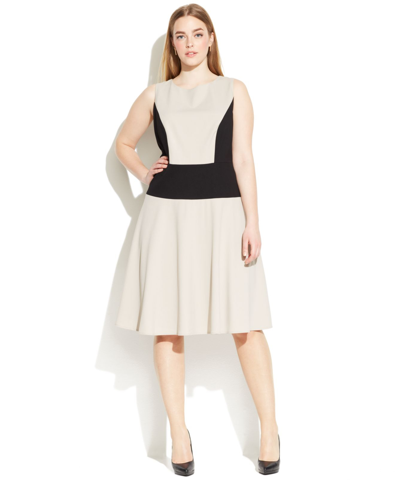 Lyst Calvin Klein Plus Size Sleeveless Colorblock Dress In Natural