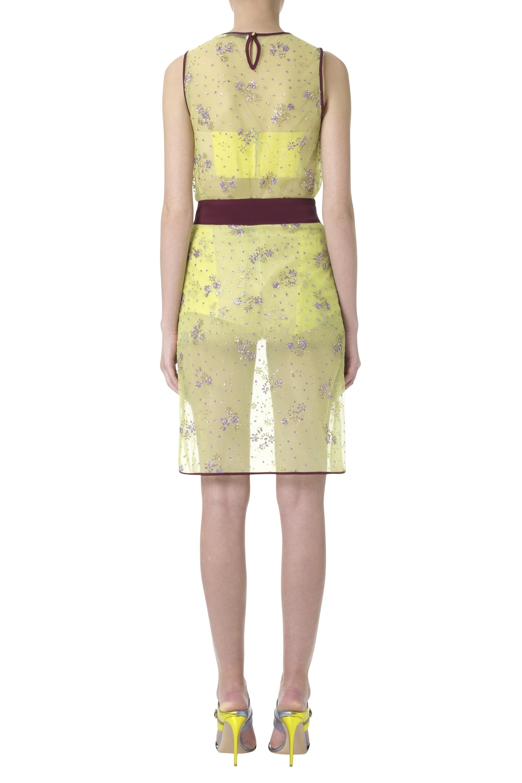 katrantzou glitter pencil skirt floral chartreuse in