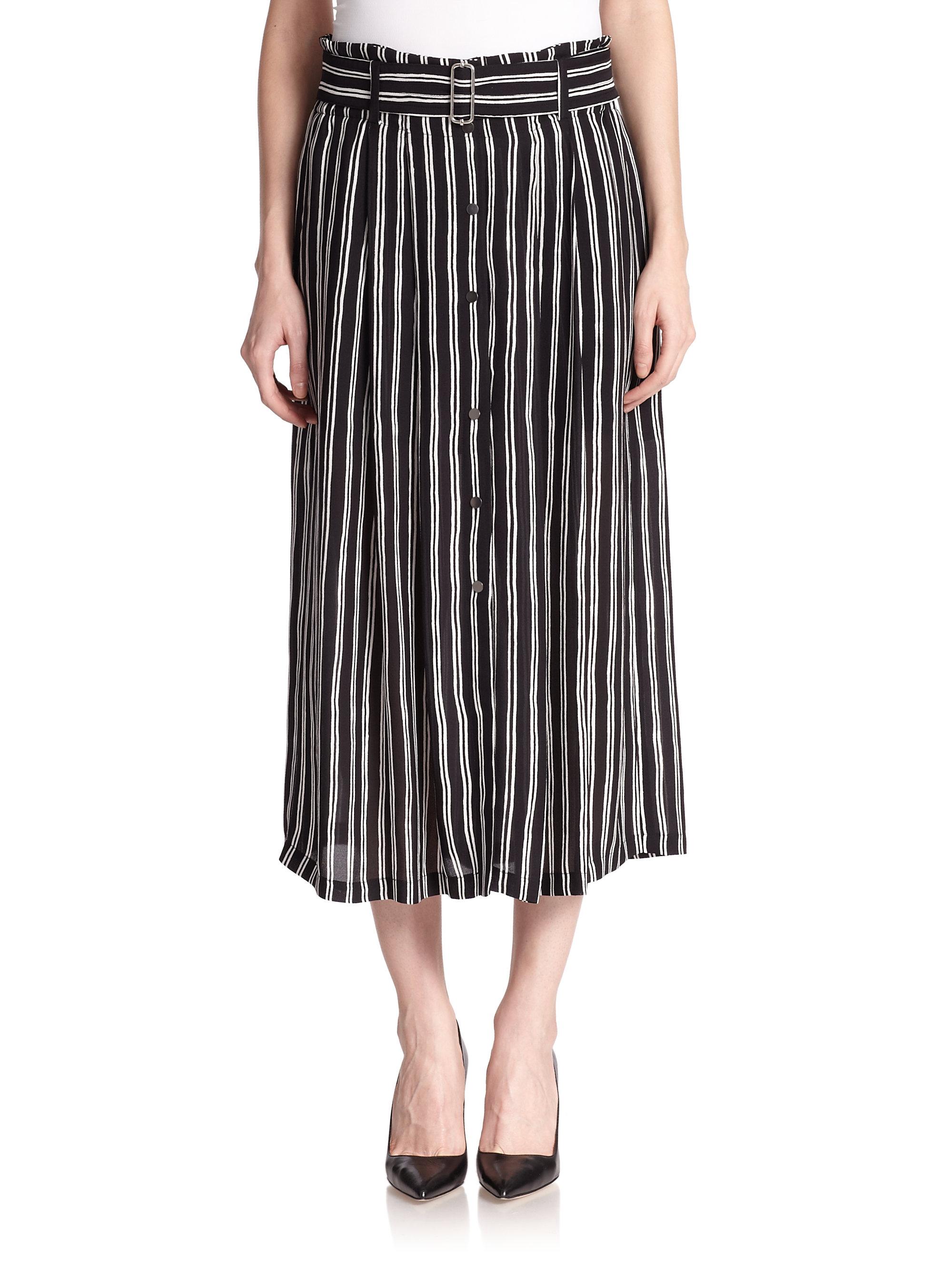 a l c mcdermott striped silk midi skirt in black lyst