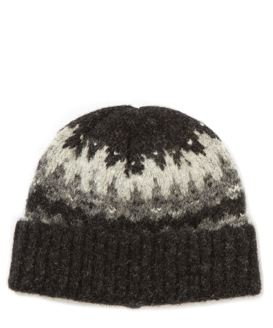 f3ac40ab62c Norse Projects Charcoal Fairisle Alpaca-blend Beanie Hat in Gray for Men -  Lyst