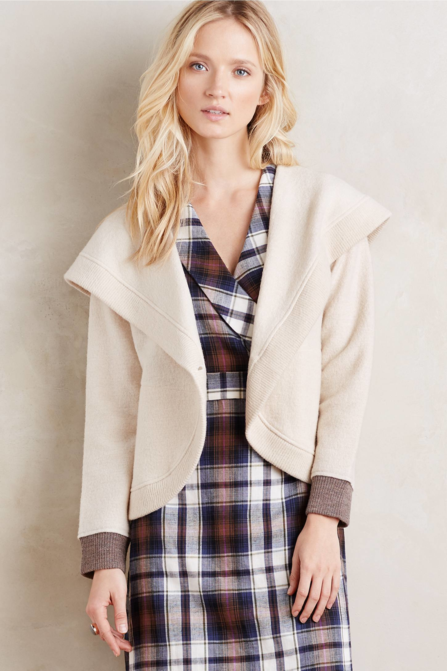 Sparrow Shawled Boiled Wool Jacket in Natural | Lyst