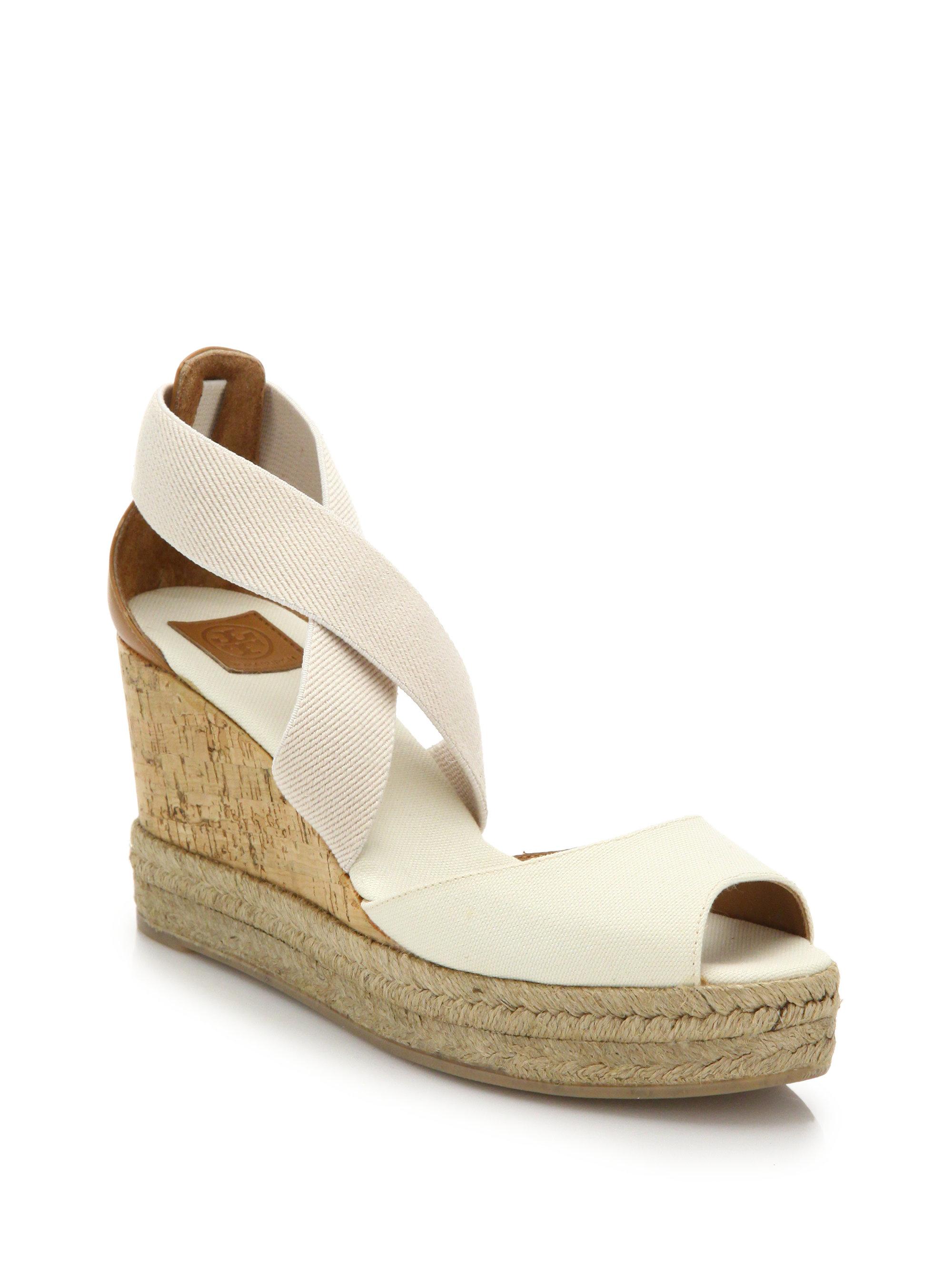 6df471f6b250b0 Lyst - Tory Burch Canvas   Cork Espadrille Wedge Sandals in White