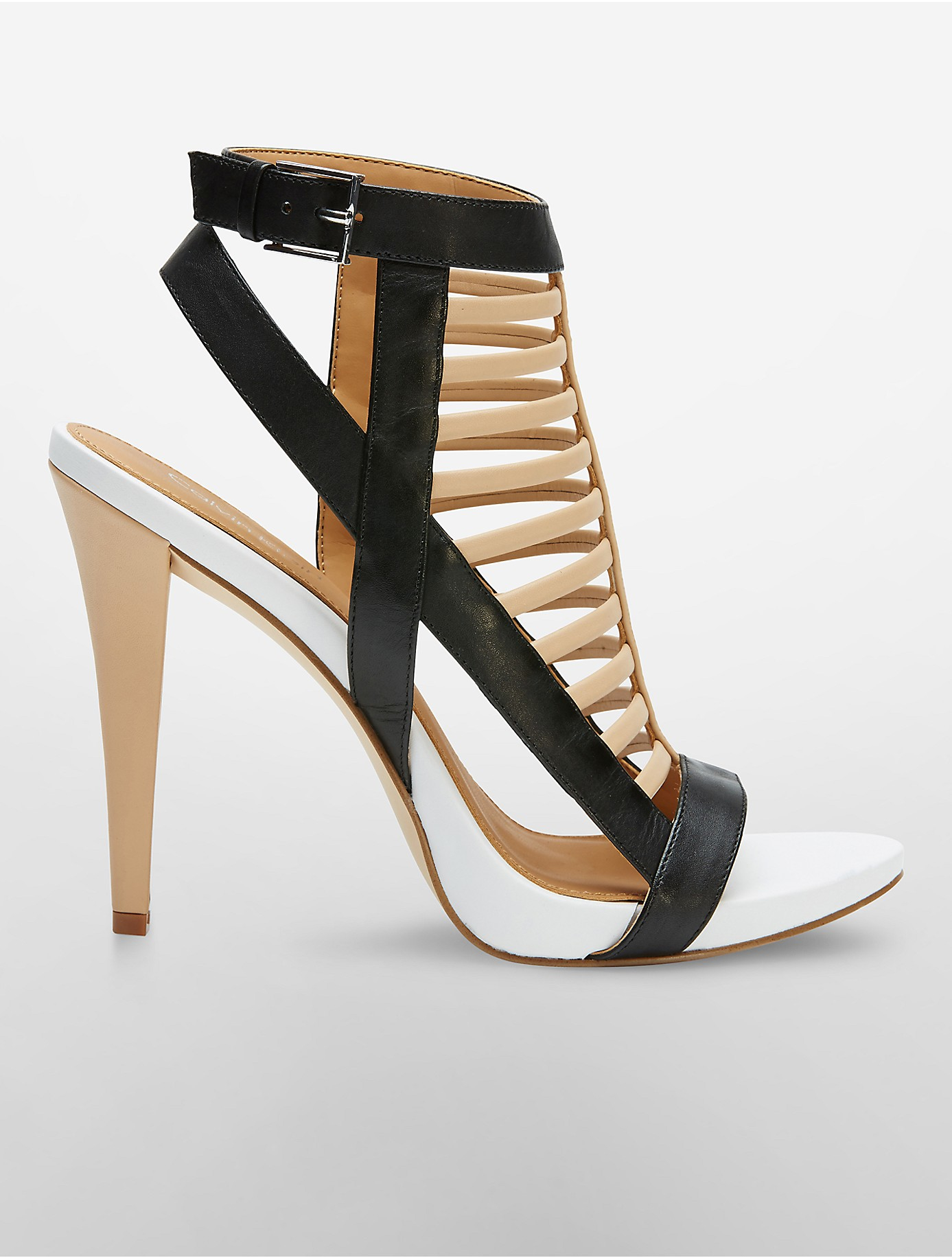 6a57f6aa638 Lyst - Calvin Klein White Label Nalo Cage Sandal in Natural