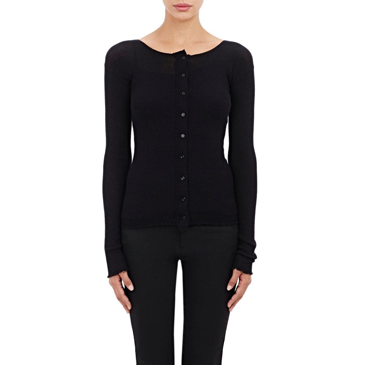 Helmut lang Women's Fine-gauge Cashmere Cardigan in Black | Lyst