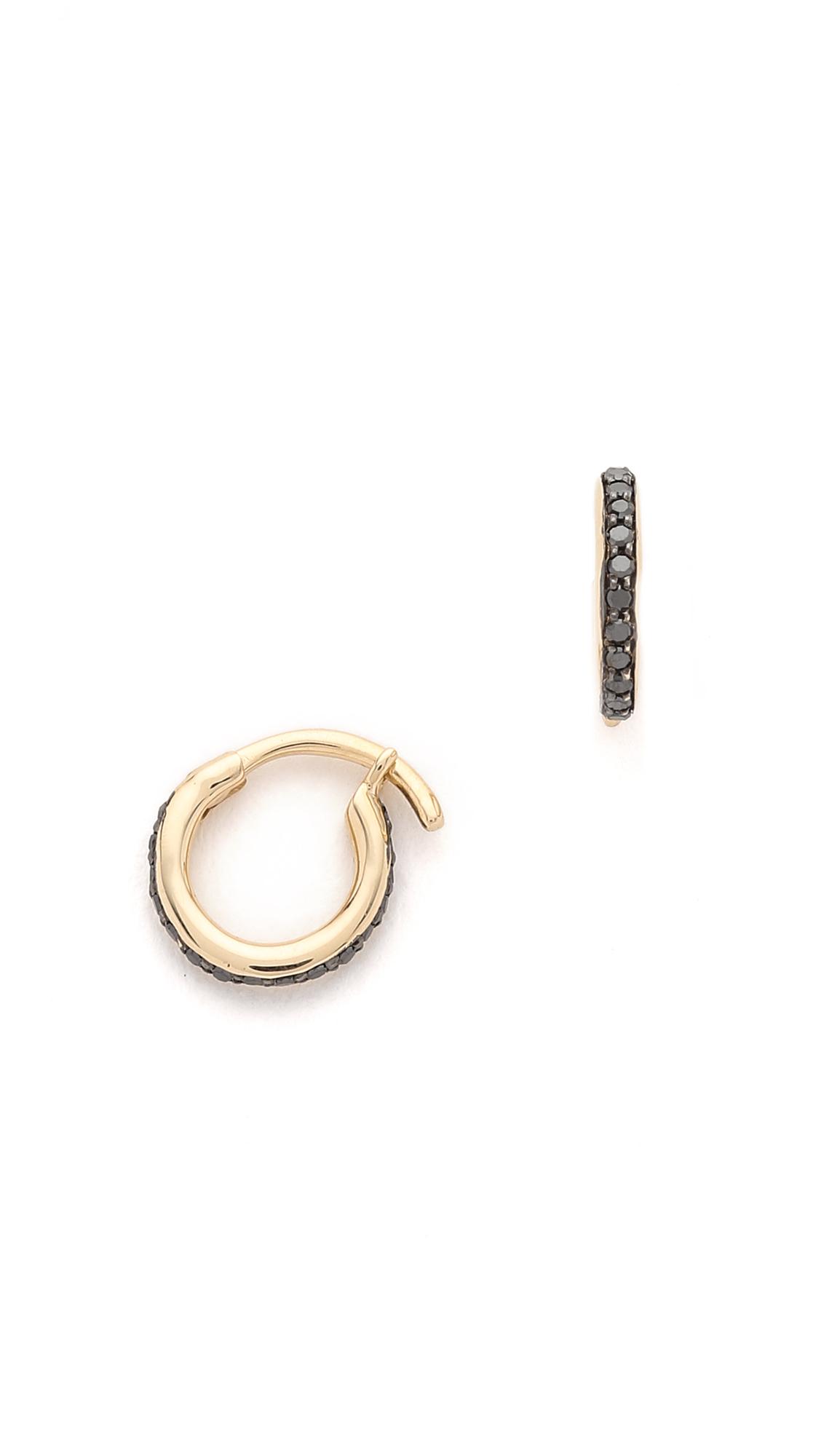 Adina reyter Black Diamond Pave Huggie Hoop Earrings in Metallic