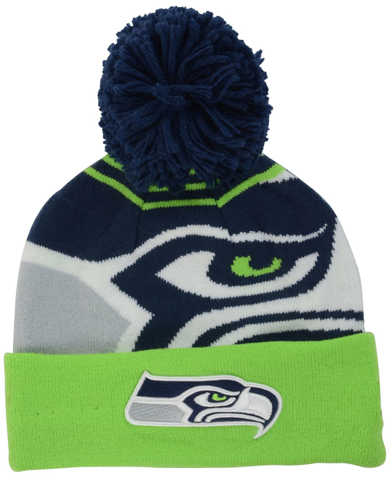 3d5a37f70a9 ... order ktz seattle seahawks whiz pom knit hat in green for men lyst  85881 b0c81