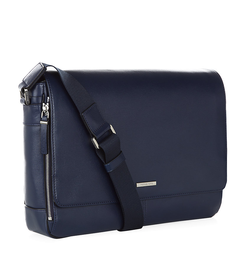 ... netherlands michael kors leather messenger bag in blue for men lyst  91534 9fe35 9e57b3c09883e