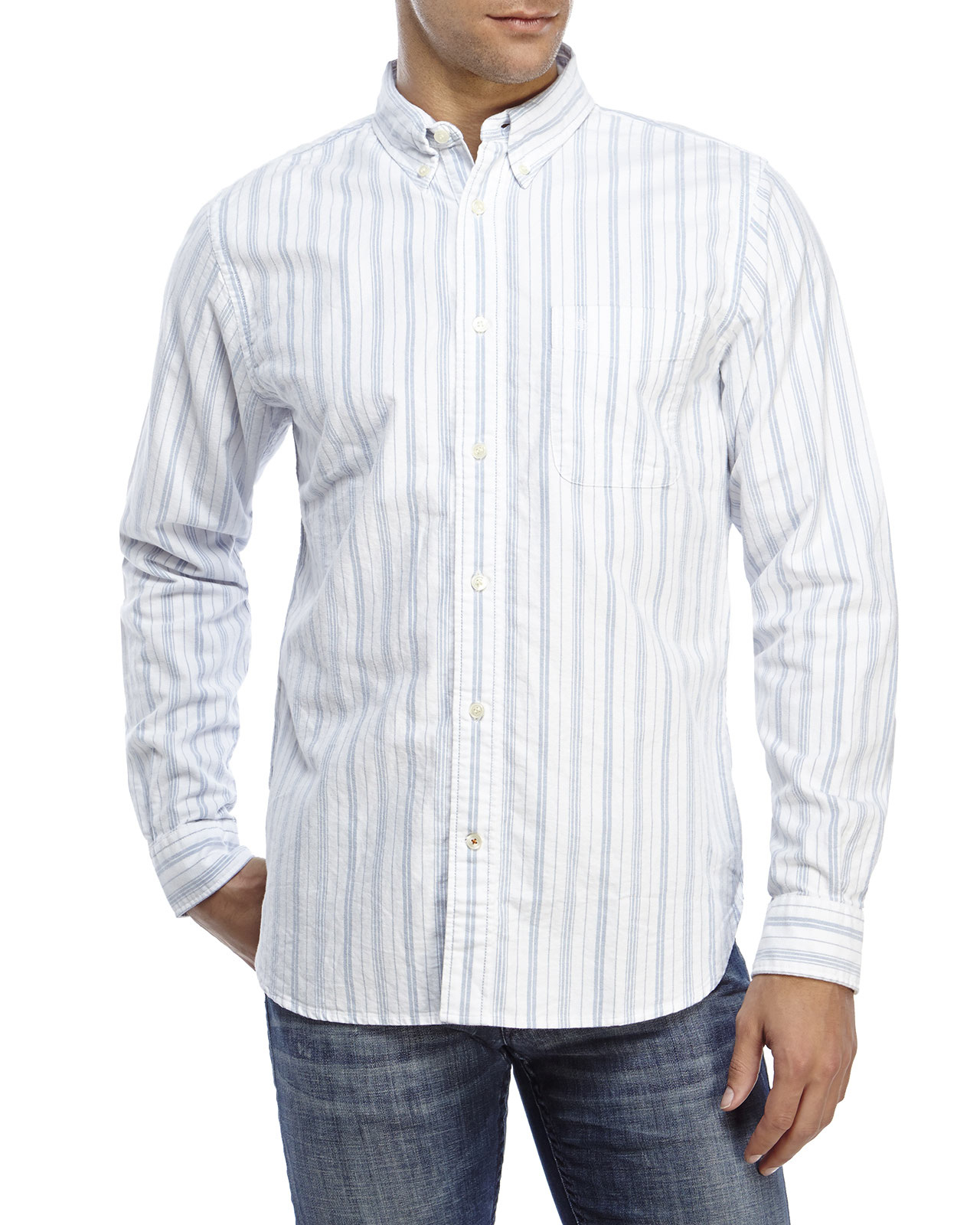 Dockers striped oxford button down shirt in blue for men for Men s oxford button down shirts