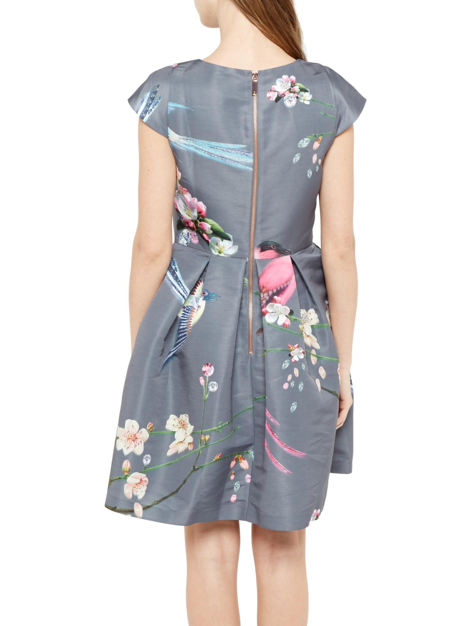 Ted Baker Zaldana Flight Of The Orient Print Dress In Gray