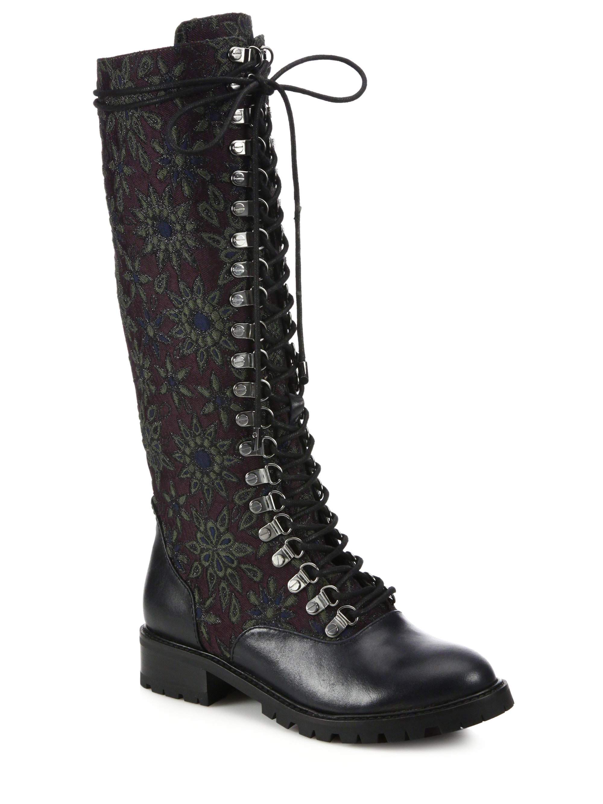 Alice Olivia Terra Leather Amp Jacquard Knee High Boots In