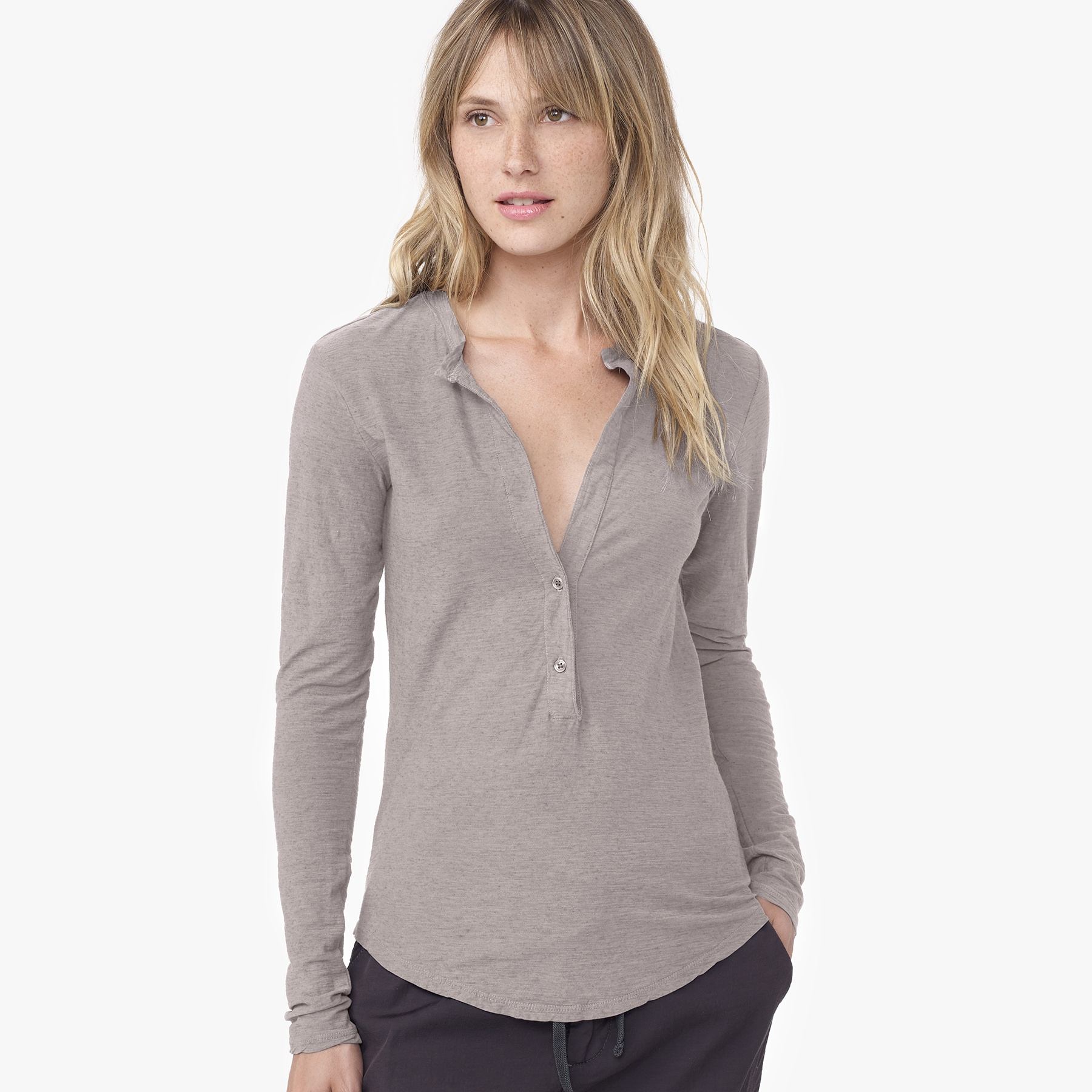 James Perse Cationic Dyed Henley In Gray Lyst