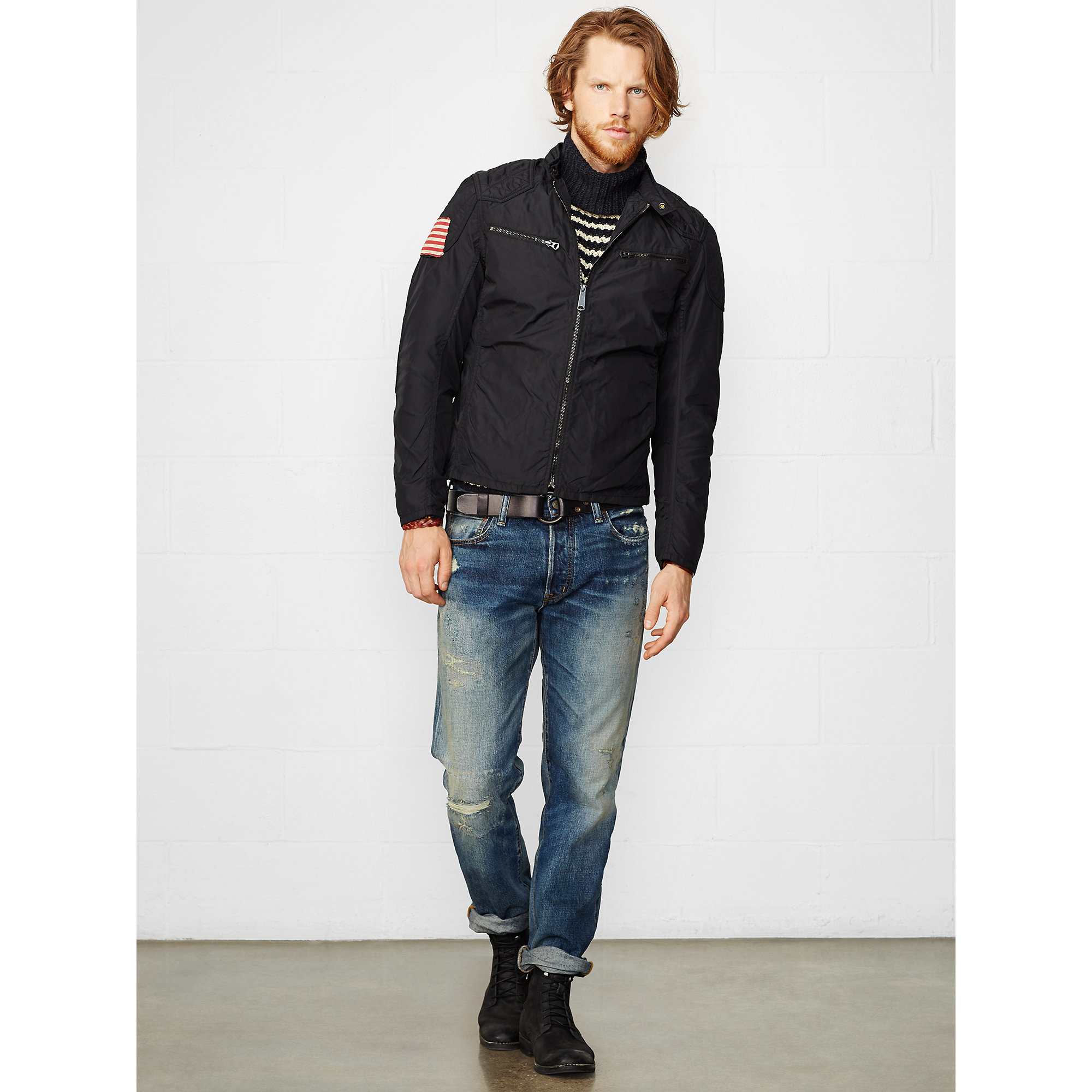 Lyst - Denim u0026 supply ralph lauren Wax Nylon Moto Jacket in Black for Men