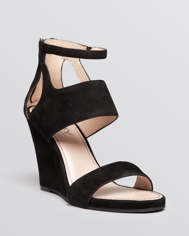 dkny open toe wedge sandals hara in black lyst