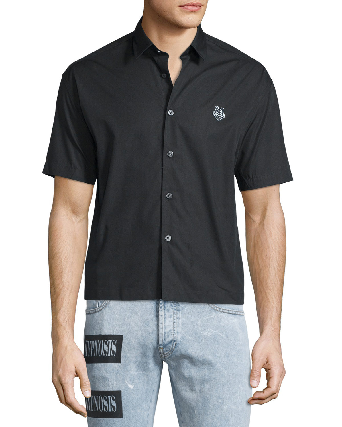 Lyst Moschino Short Sleeve Button Front Dress Shirt In