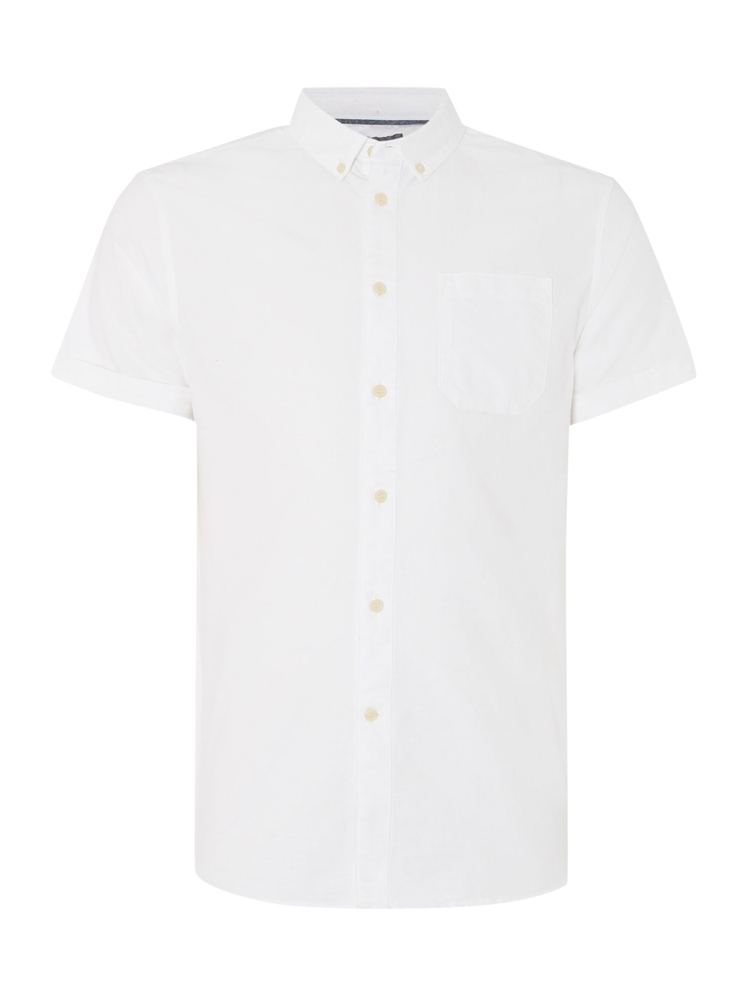 Linea ace button down collar short sleeve oxford shirt in for White button down collar oxford shirt