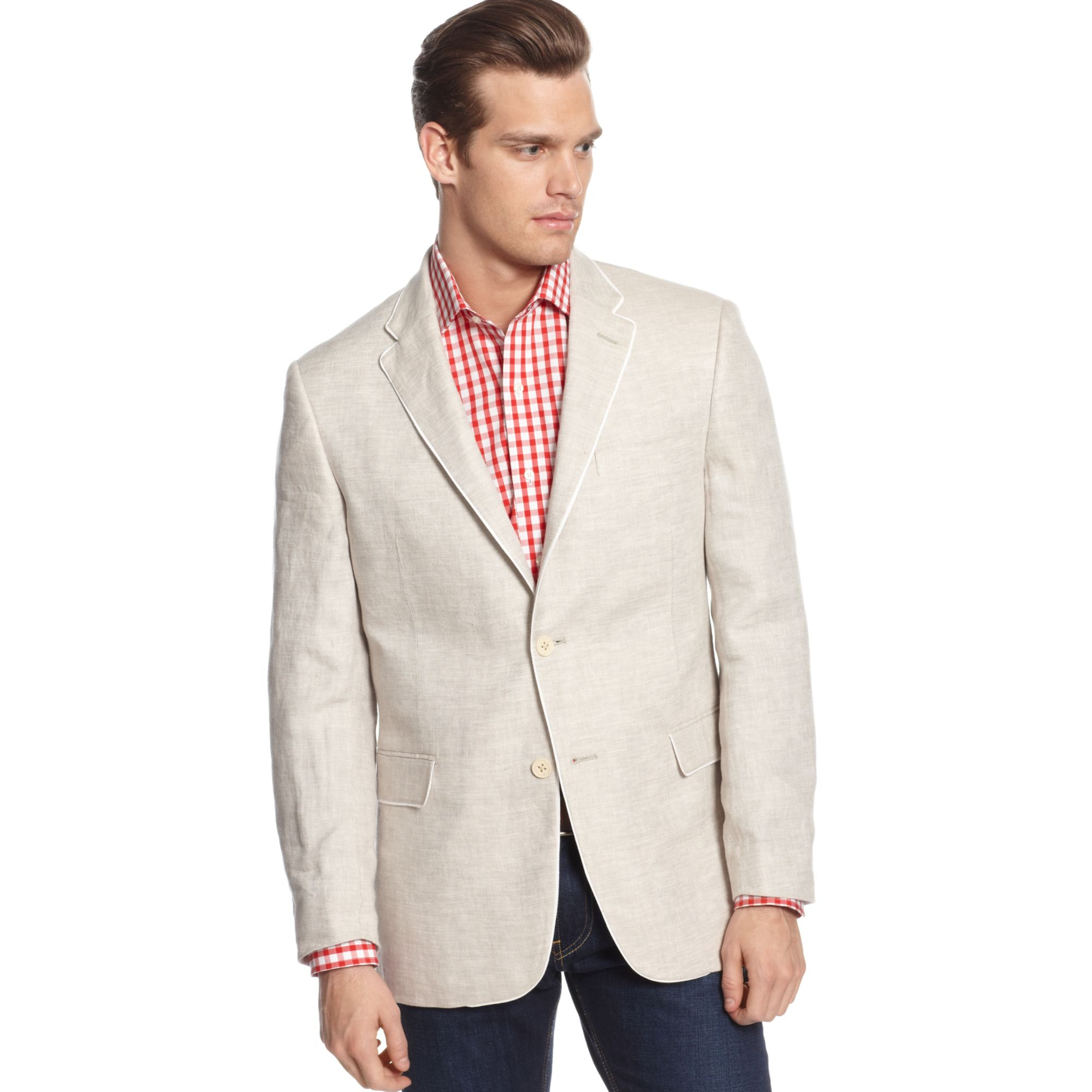 Tommy hilfiger Tan Linen with Lapel Piping Sport Coat in Gray for ...