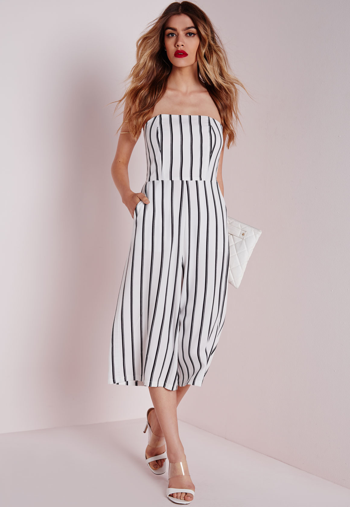 f56b0fd187e6 Lyst - Missguided Stripe Bandeau Culotte Jumpsuit White in Black