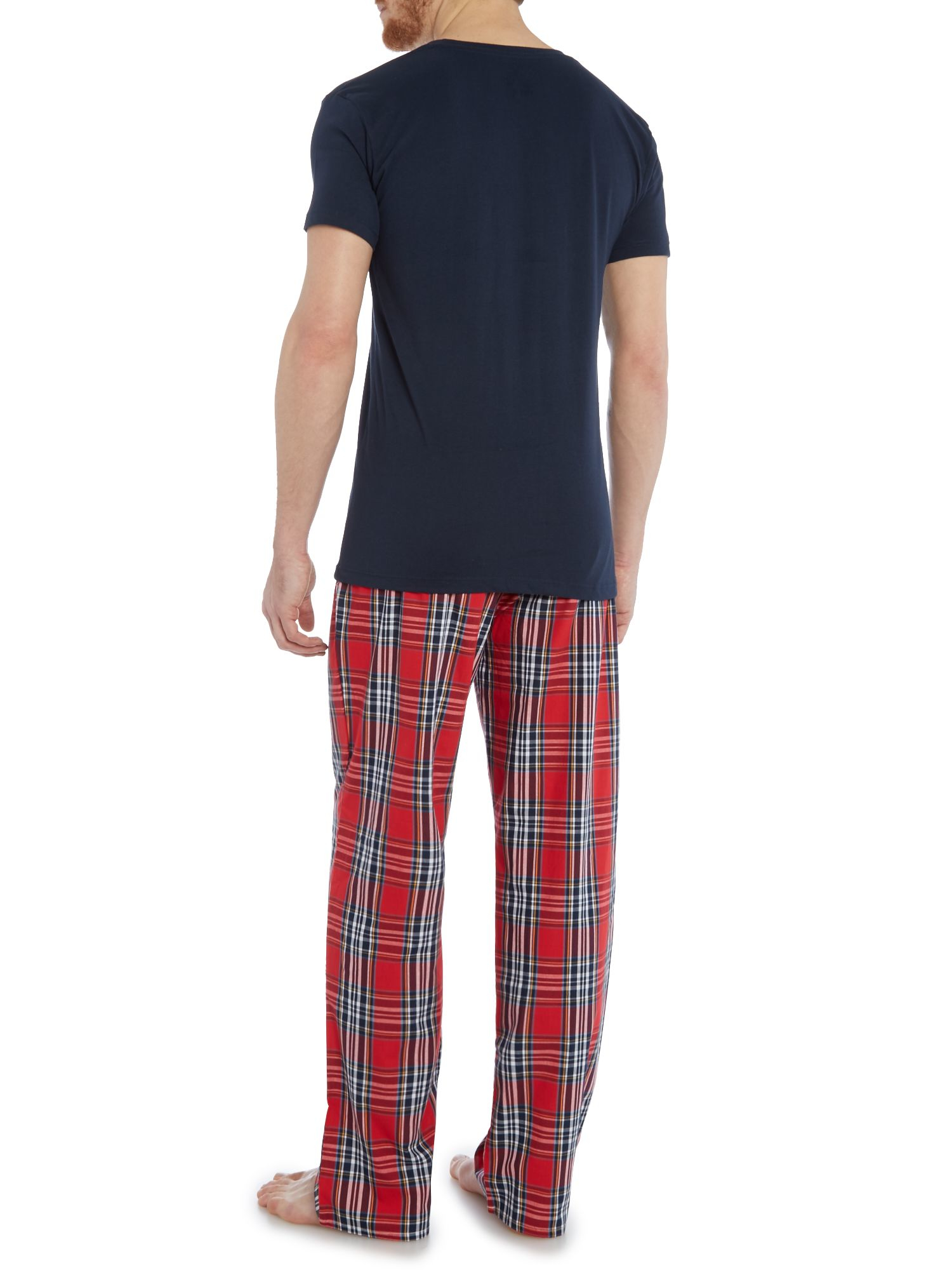Gant Check Pant And Crew Neck T Shirt Gift Set In Blue For