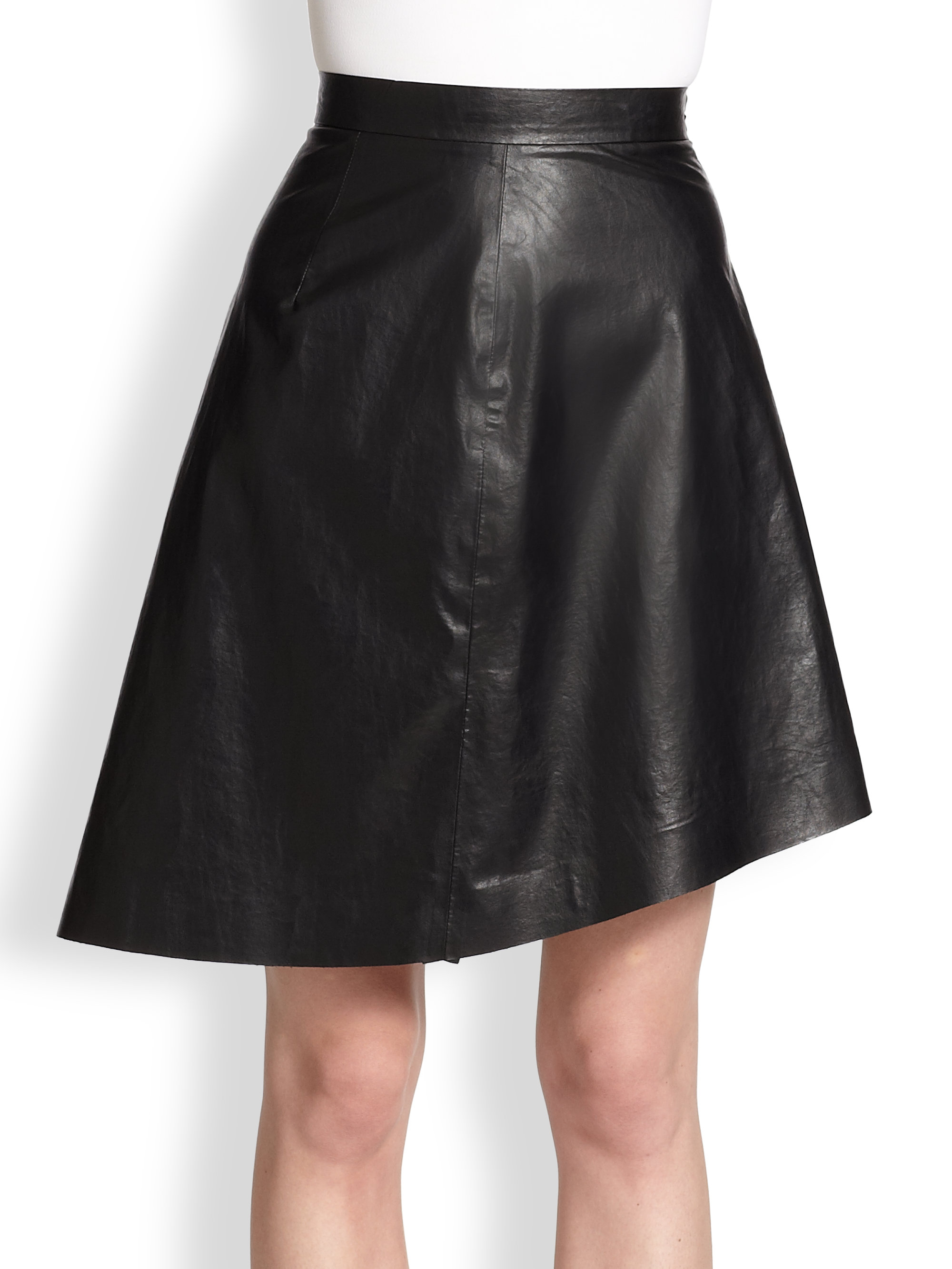 msgm faux leather skirt in black lyst